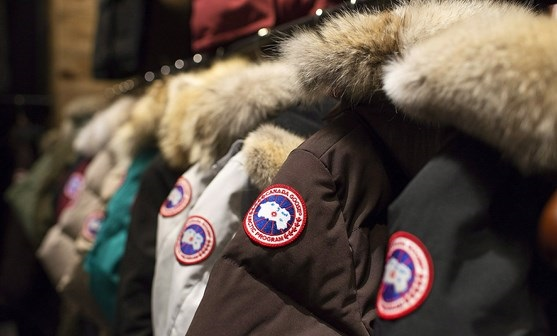 FILE - In this Nov. 28, 2013, file photo, garments hang on display at the Canada Goose Inc. showroom in Toronto, Canada Goose, one of the world's leading makers of extreme weather outerwear, is selling a majority stake in the company to private investment firm Bain Capital. (AP Photo/The Canadian Press, Aaron Vincent Elkaim)
